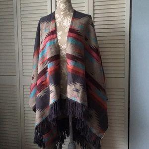 AEO Cape Poncho Wrap Blanket Aztec Tribal Multi